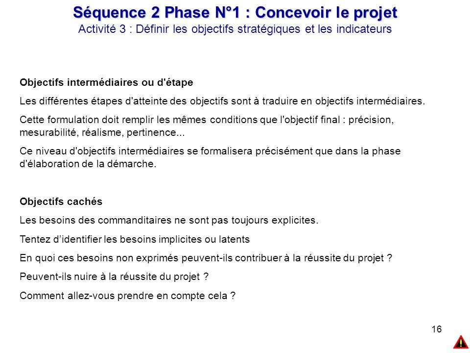 16 Séquence 2 Phase N°1 : Concevoir le projet Activité 3 : Définir les objectifs stratégiques et les indicateurs Objectifs intermédiaires ou d'étape L
