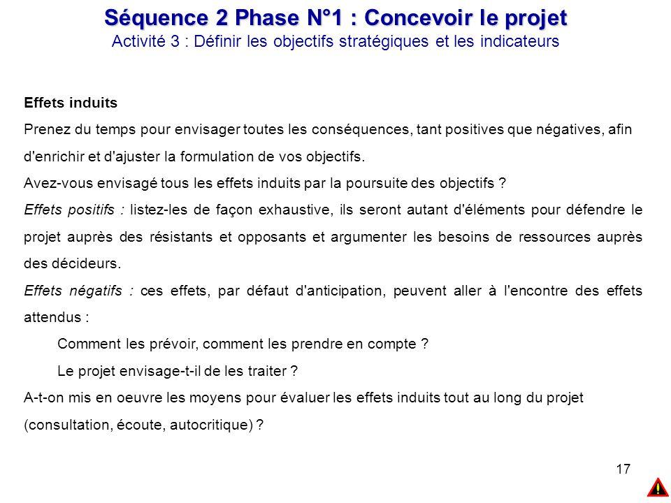 17 Séquence 2 Phase N°1 : Concevoir le projet Activité 3 : Définir les objectifs stratégiques et les indicateurs Effets induits Prenez du temps pour e