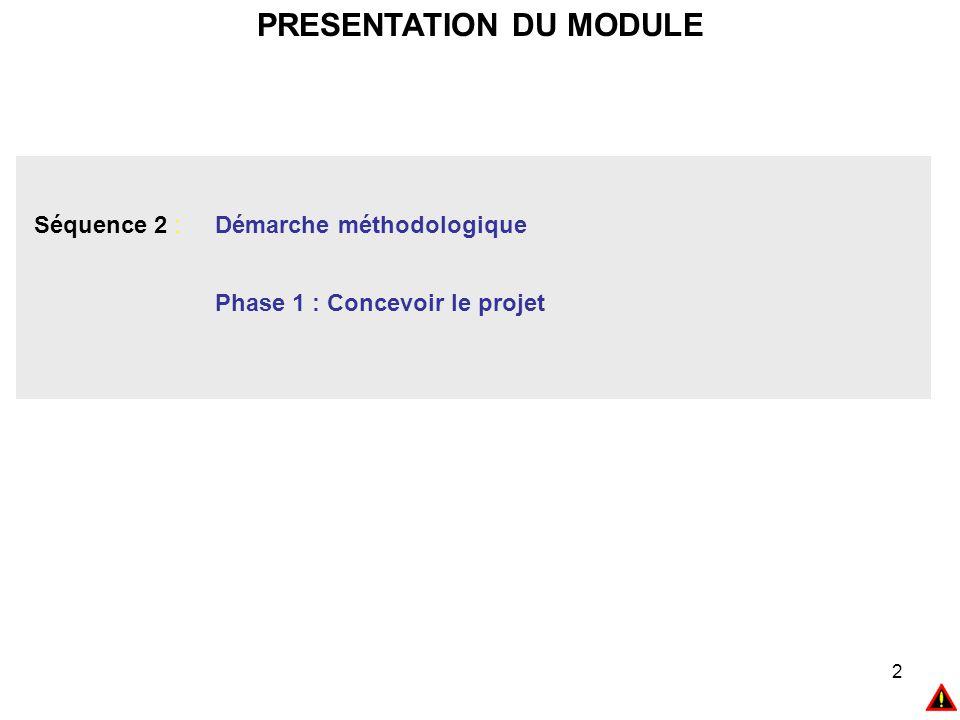 2 PRESENTATION DU MODULE Séquence 2 : Démarche méthodologique Phase 1 : Concevoir le projet