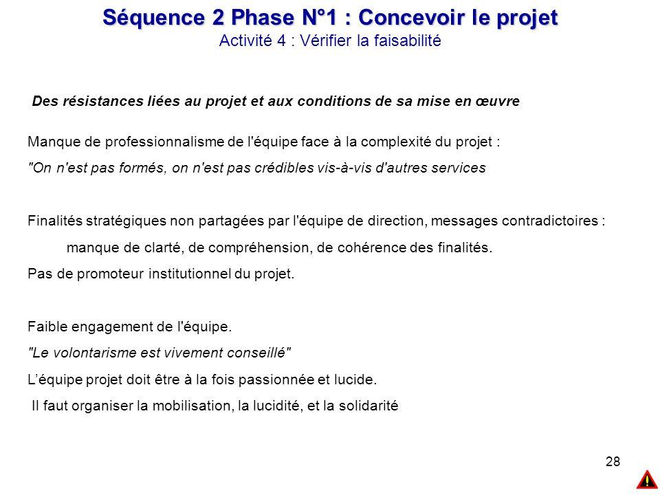 28 Des résistances liées au projet et aux conditions de sa mise en œuvre Manque de professionnalisme de l'équipe face à la complexité du projet :