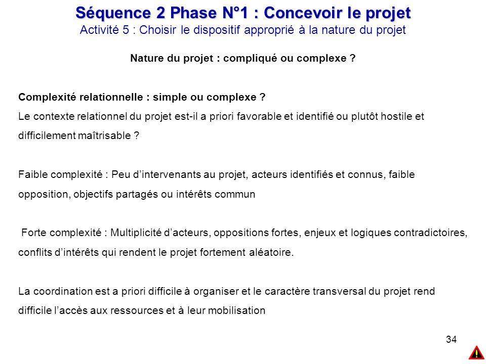 34 Séquence 2 Phase N°1 : Concevoir le projet Activité 5 : Choisir le dispositif approprié à la nature du projet Nature du projet : compliqué ou compl