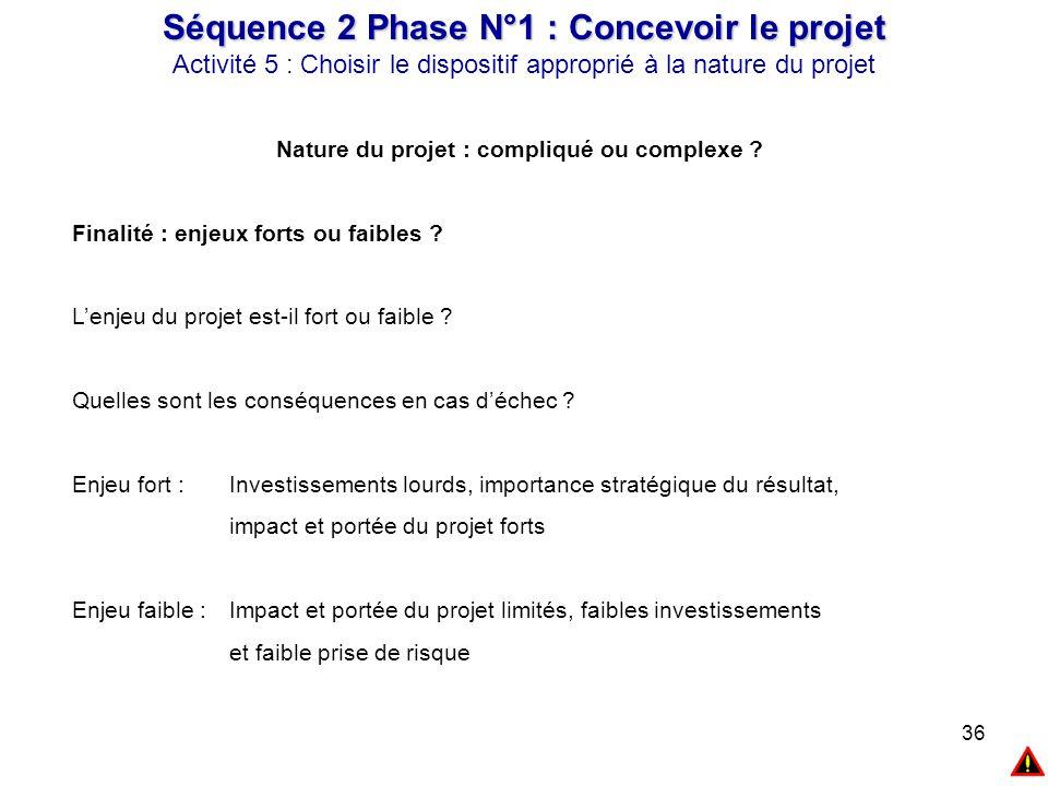36 Séquence 2 Phase N°1 : Concevoir le projet Activité 5 : Choisir le dispositif approprié à la nature du projet Nature du projet : compliqué ou compl