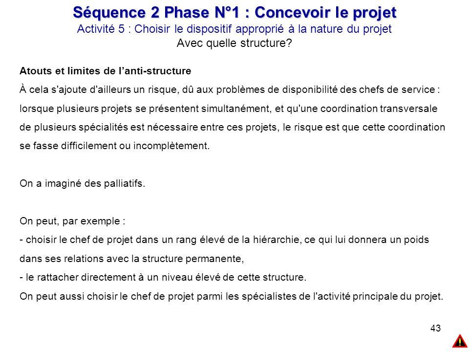 43 Séquence 2 Phase N°1 : Concevoir le projet Activité 5 : Choisir le dispositif approprié à la nature du projet Avec quelle structure? Atouts et limi