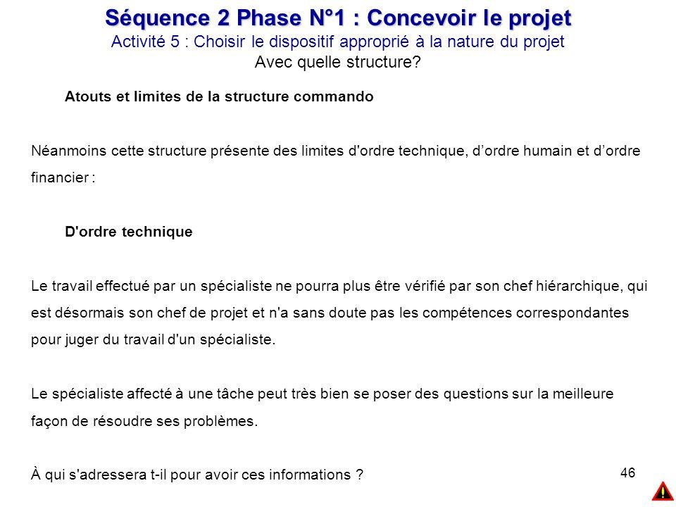 46 Séquence 2 Phase N°1 : Concevoir le projet Activité 5 : Choisir le dispositif approprié à la nature du projet Avec quelle structure? Atouts et limi