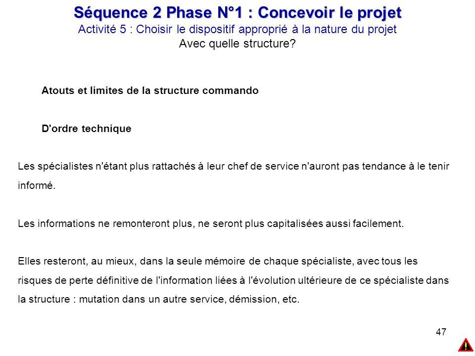 47 Séquence 2 Phase N°1 : Concevoir le projet Activité 5 : Choisir le dispositif approprié à la nature du projet Avec quelle structure? Atouts et limi