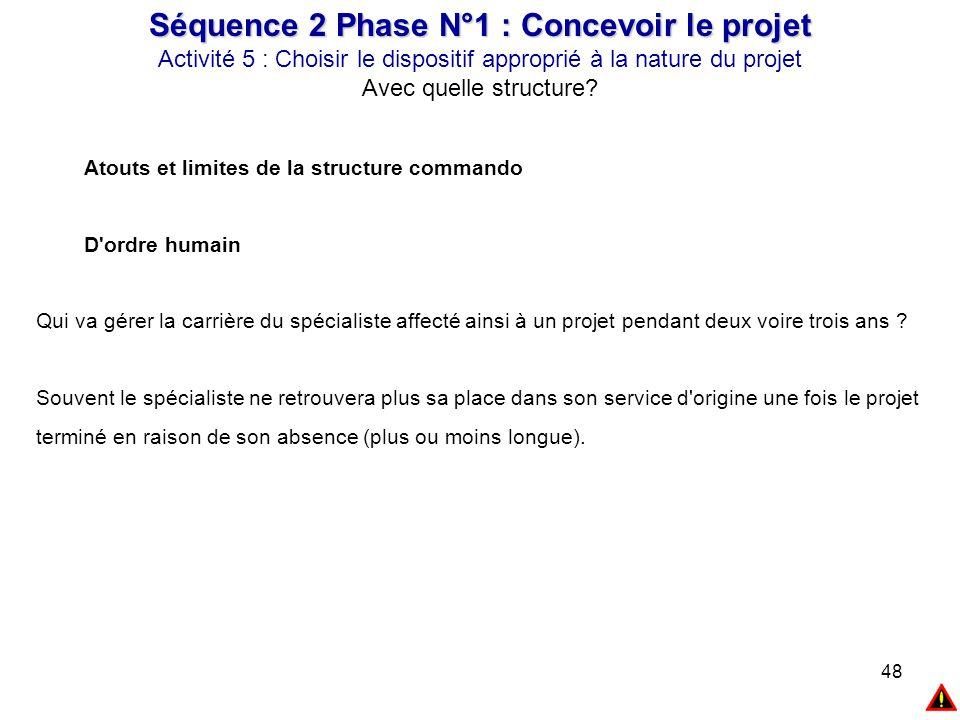 48 Séquence 2 Phase N°1 : Concevoir le projet Activité 5 : Choisir le dispositif approprié à la nature du projet Avec quelle structure? Atouts et limi