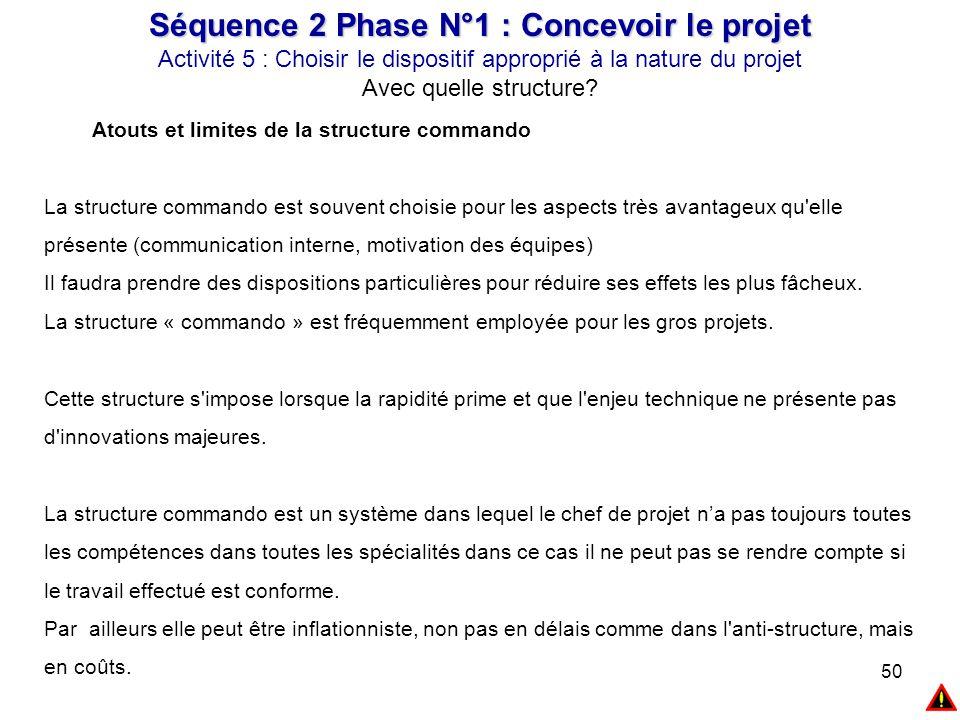 50 Séquence 2 Phase N°1 : Concevoir le projet Activité 5 : Choisir le dispositif approprié à la nature du projet Avec quelle structure? Atouts et limi