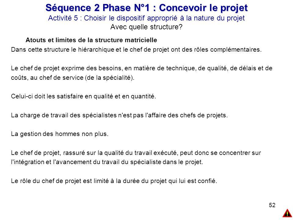 52 Atouts et limites de la structure matricielle Dans cette structure le hiérarchique et le chef de projet ont des rôles complémentaires. Le chef de p