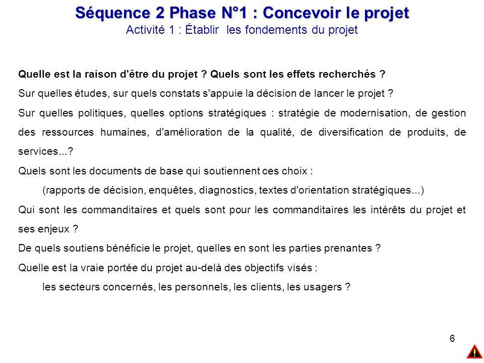 6 Séquence 2 Phase N°1 : Concevoir le projet Activité 1 : Établir les fondements du projet Quelle est la raison d'être du projet ? Quels sont les effe