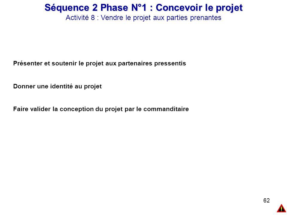 62 Séquence 2 Phase N°1 : Concevoir le projet Activité 8 : Vendre le projet aux parties prenantes Présenter et soutenir le projet aux partenaires pres