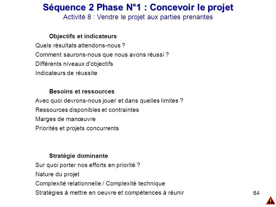 64 Séquence 2 Phase N°1 : Concevoir le projet Activité 8 : Vendre le projet aux parties prenantes Objectifs et indicateurs Quels résultats attendons-n