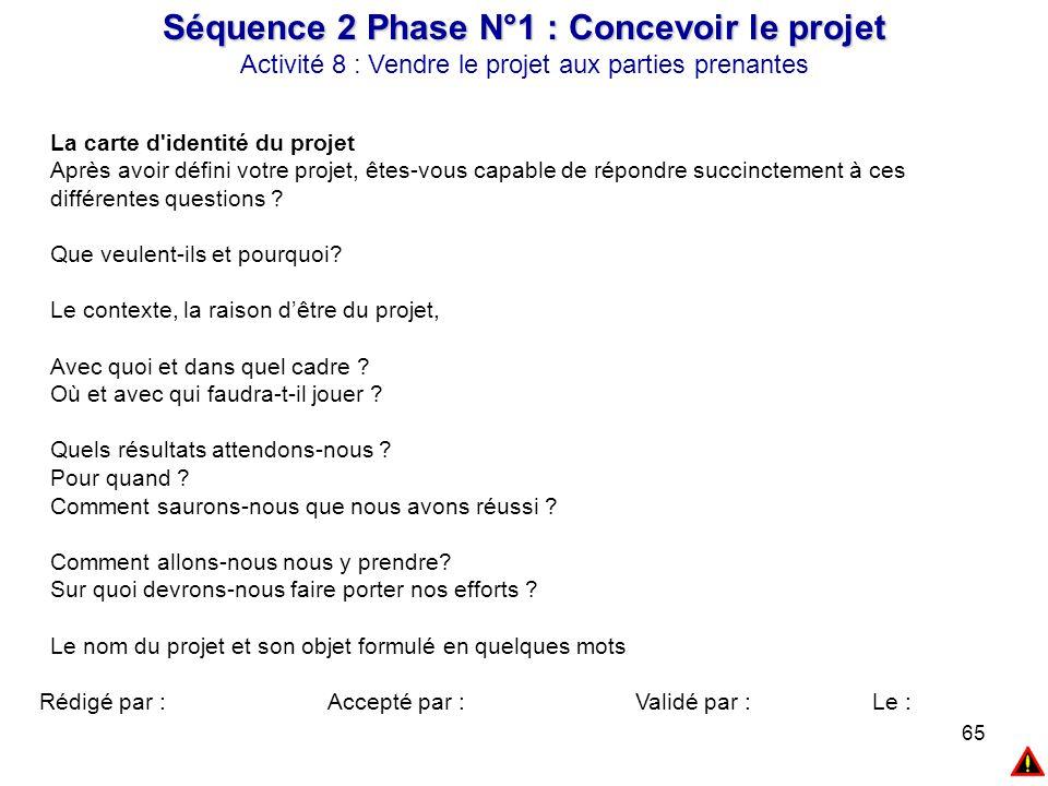 65 Séquence 2 Phase N°1 : Concevoir le projet Activité 8 : Vendre le projet aux parties prenantes La carte d'identité du projet Après avoir défini vot