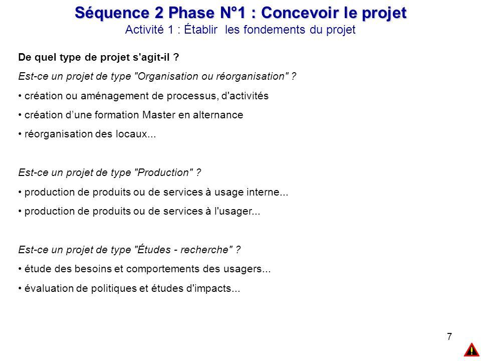 7 Séquence 2 Phase N°1 : Concevoir le projet Activité 1 : Établir les fondements du projet De quel type de projet s'agit-il ? Est-ce un projet de type