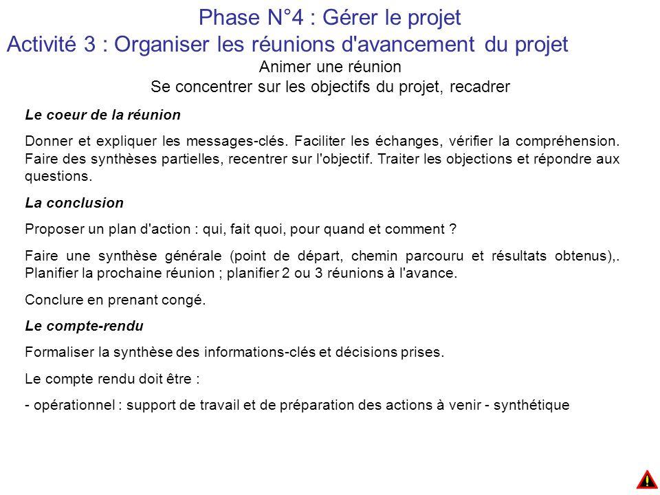 Phase N°4 : Gérer le projet Activité 3 : Organiser les réunions d avancement du projet Animer une réunion Se concentrer sur les objectifs du projet, recadrer Le coeur de la réunion Donner et expliquer les messages-clés.