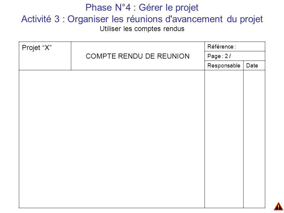 Phase N°4 : Gérer le projet Activité 3 : Organiser les réunions d avancement du projet Utiliser les comptes rendus Projet X COMPTE RENDU DE REUNION Référence : Page : 2 / ResponsableDate