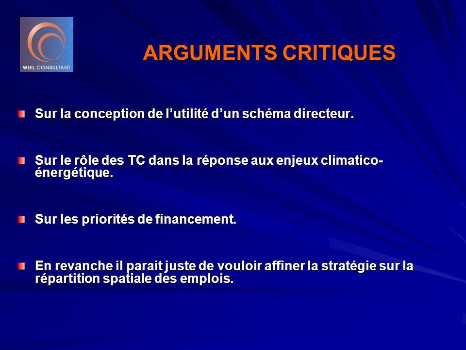 ARGUMENTS CRITIQUES Sur la conception de l'utilité d'un schéma directeur. Sur le rôle des TC dans la réponse aux enjeux climatico- énergétique. Sur le