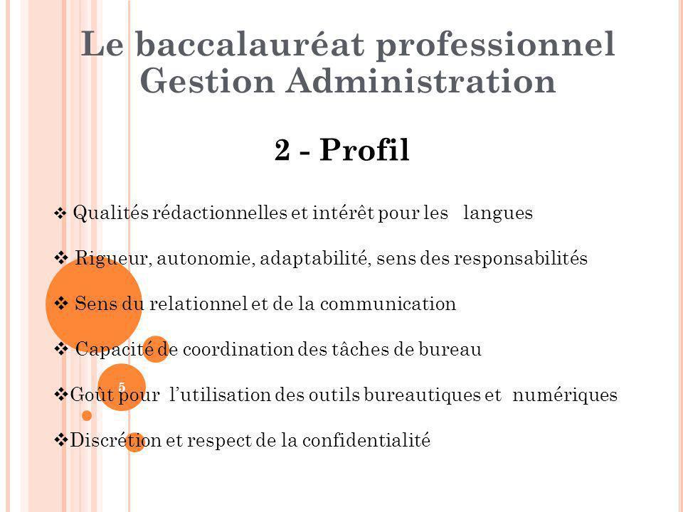 5 2 - Profil Le baccalauréat professionnel Gestion Administration  Qualités rédactionnelles et intérêt pour les langues  Rigueur, autonomie, adaptab
