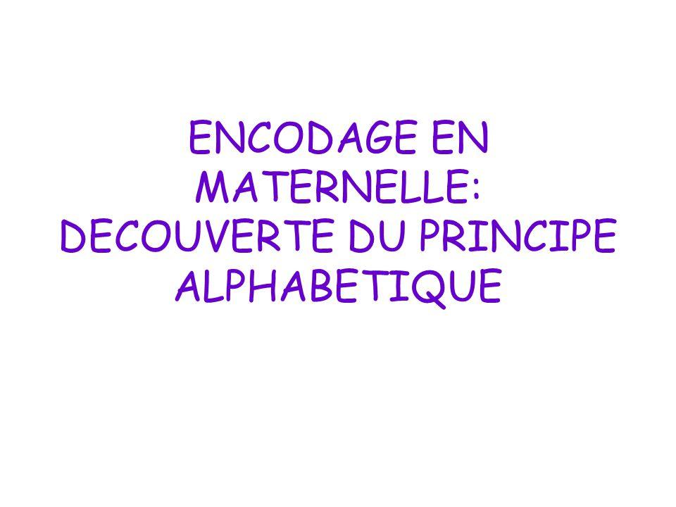ENCODAGE EN MATERNELLE: DECOUVERTE DU PRINCIPE ALPHABETIQUE