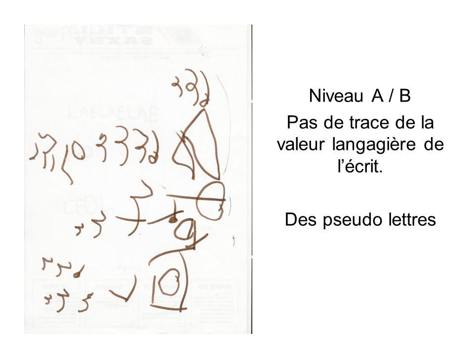 Niveau A / B Pas de trace de la valeur langagière de l'écrit. Des pseudo lettres