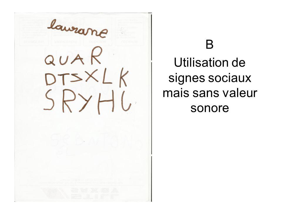 B Utilisation de signes sociaux mais sans valeur sonore