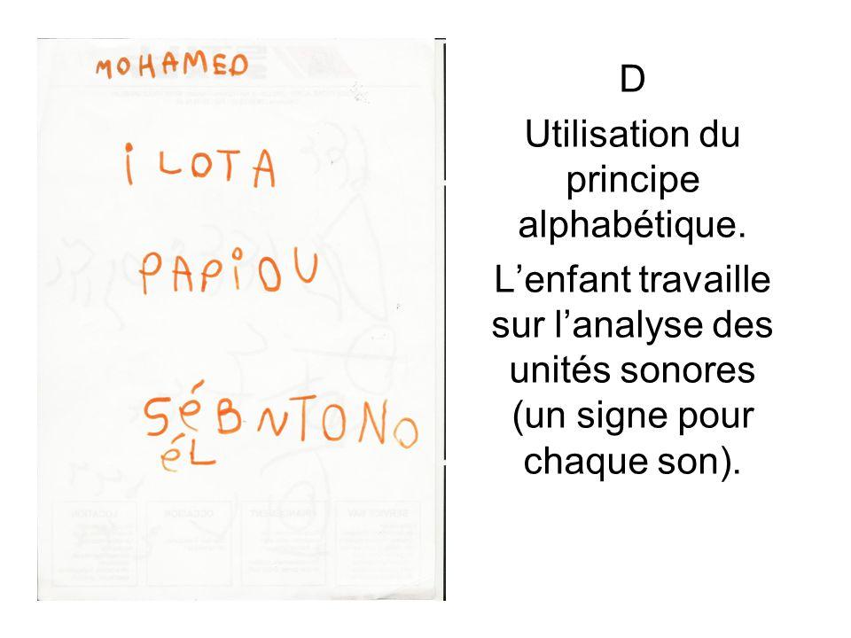 D Utilisation du principe alphabétique. L'enfant travaille sur l'analyse des unités sonores (un signe pour chaque son).