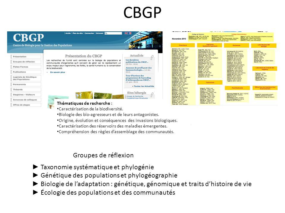 CBGP Thématiques de recherche : Caractérisation de la biodiversité. Biologie des bio-agresseurs et de leurs antagonistes. Origine, évolution et conséq
