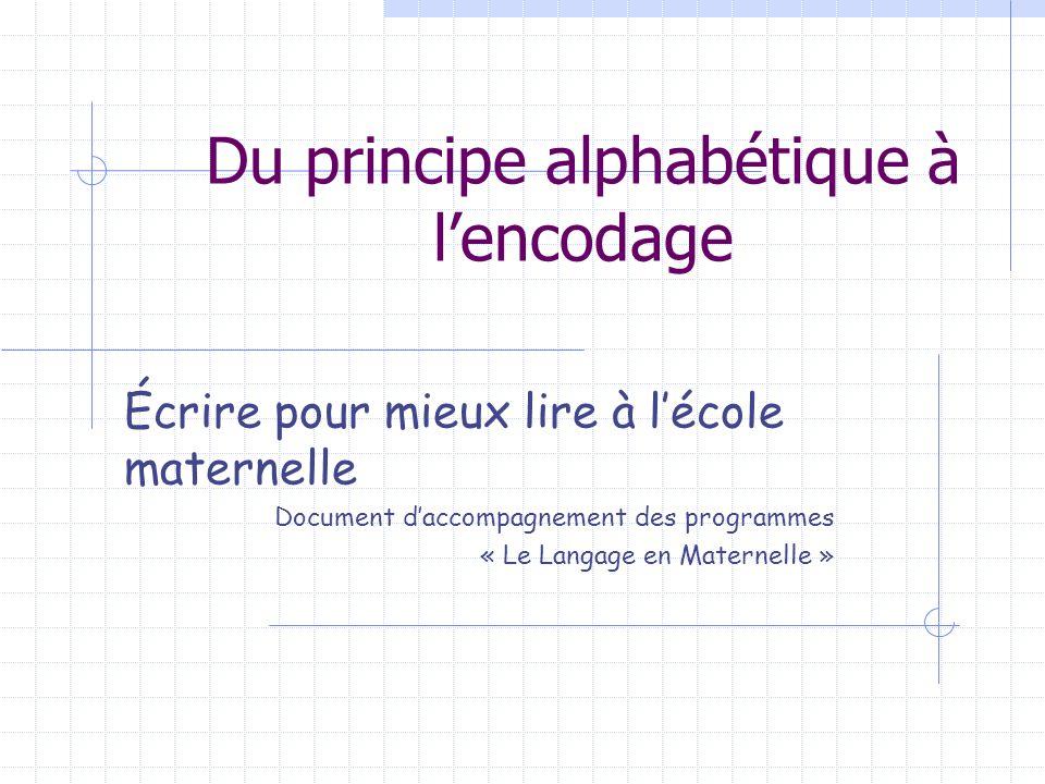 Du principe alphabétique à l'encodage Écrire pour mieux lire à l'école maternelle Document d'accompagnement des programmes « Le Langage en Maternelle