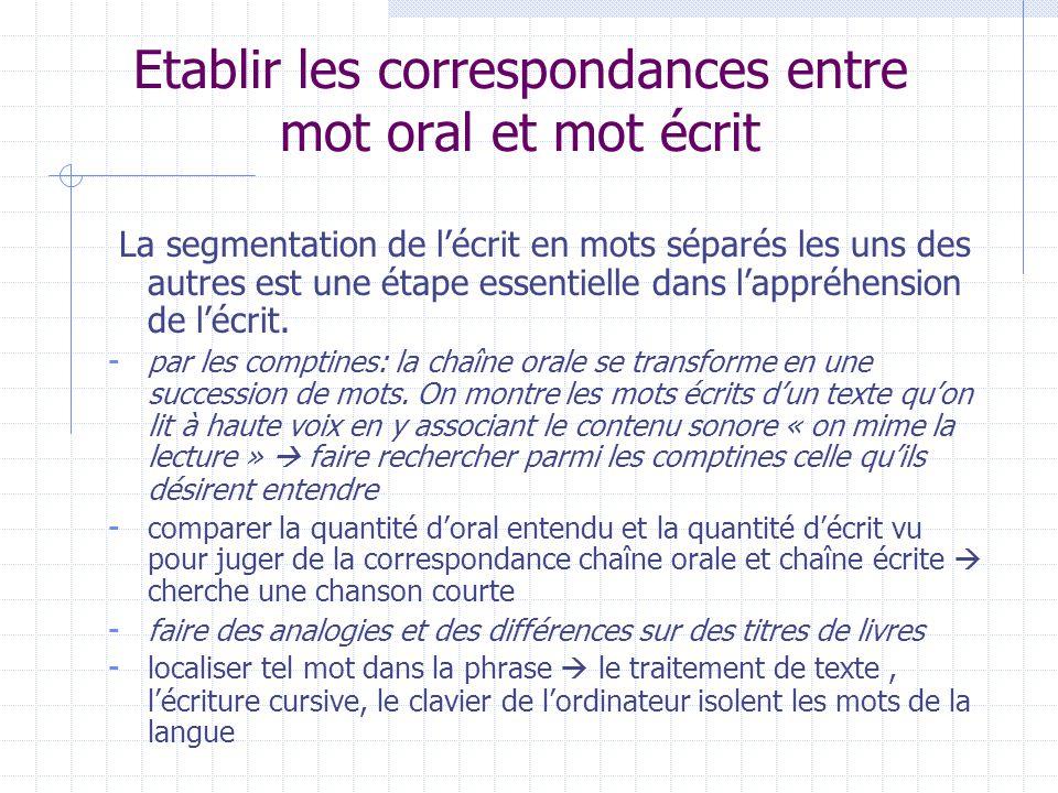 Etablir les correspondances entre mot oral et mot écrit La segmentation de l'écrit en mots séparés les uns des autres est une étape essentielle dans l