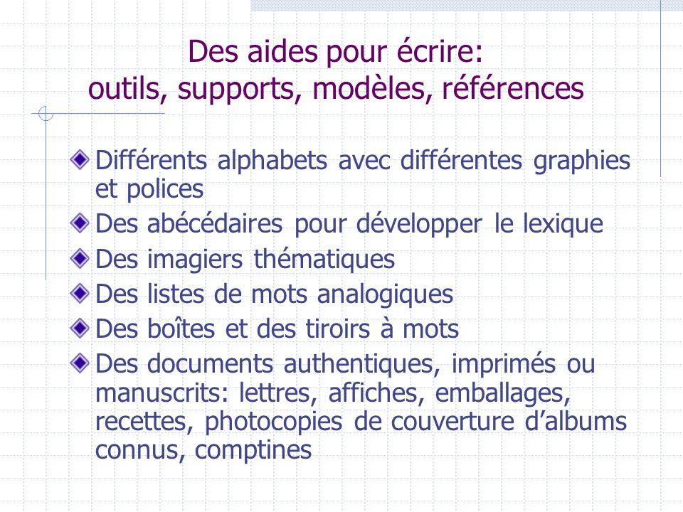Des aides pour écrire: outils, supports, modèles, références Différents alphabets avec différentes graphies et polices Des abécédaires pour développer