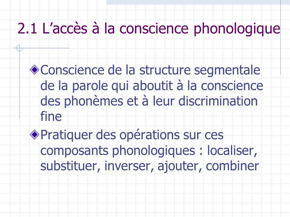 2.1 L'accès à la conscience phonologique Conscience de la structure segmentale de la parole qui aboutit à la conscience des phonèmes et à leur discrim