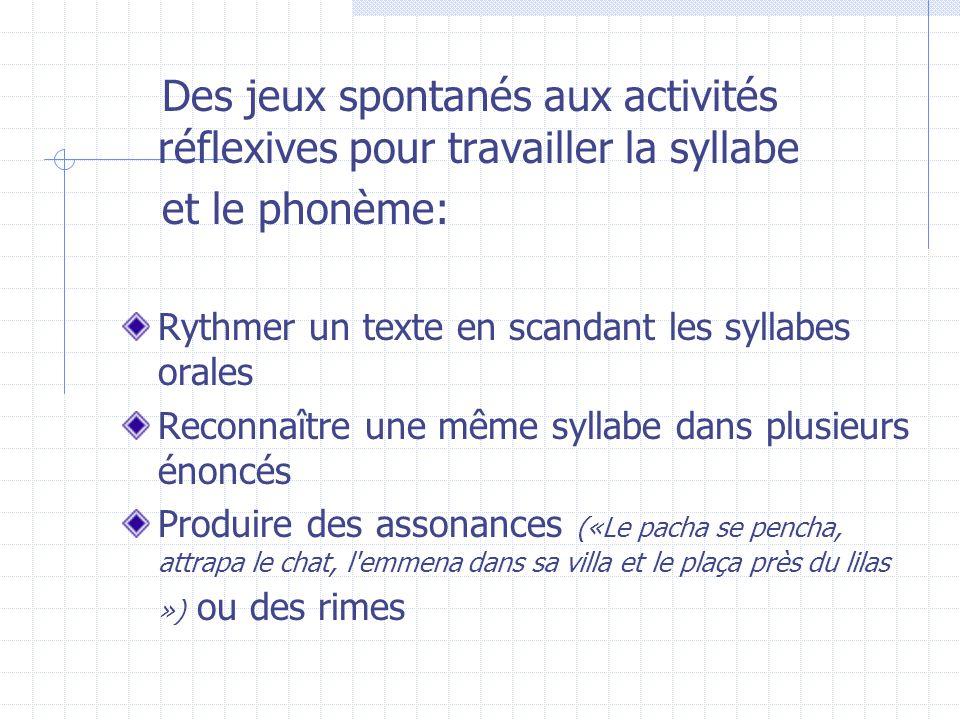 Des jeux spontanés aux activités réflexives pour travailler la syllabe et le phonème: Rythmer un texte en scandant les syllabes orales Reconnaître une