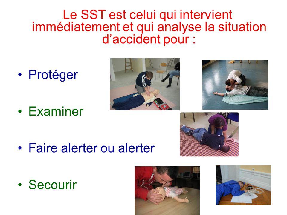 Le SST est celui qui intervient immédiatement et qui analyse la situation d'accident pour : Protéger Examiner Faire alerter ou alerter Secourir