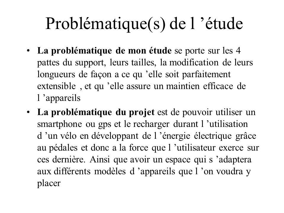 Problématique(s) de l 'étude La problématique de mon étude se porte sur les 4 pattes du support, leurs tailles, la modification de leurs longueurs de