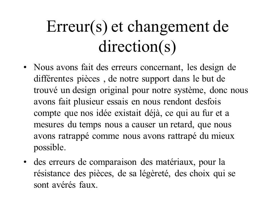 Erreur(s) et changement de direction(s) Nous avons fait des erreurs concernant, les design de différentes pièces, de notre support dans le but de trou
