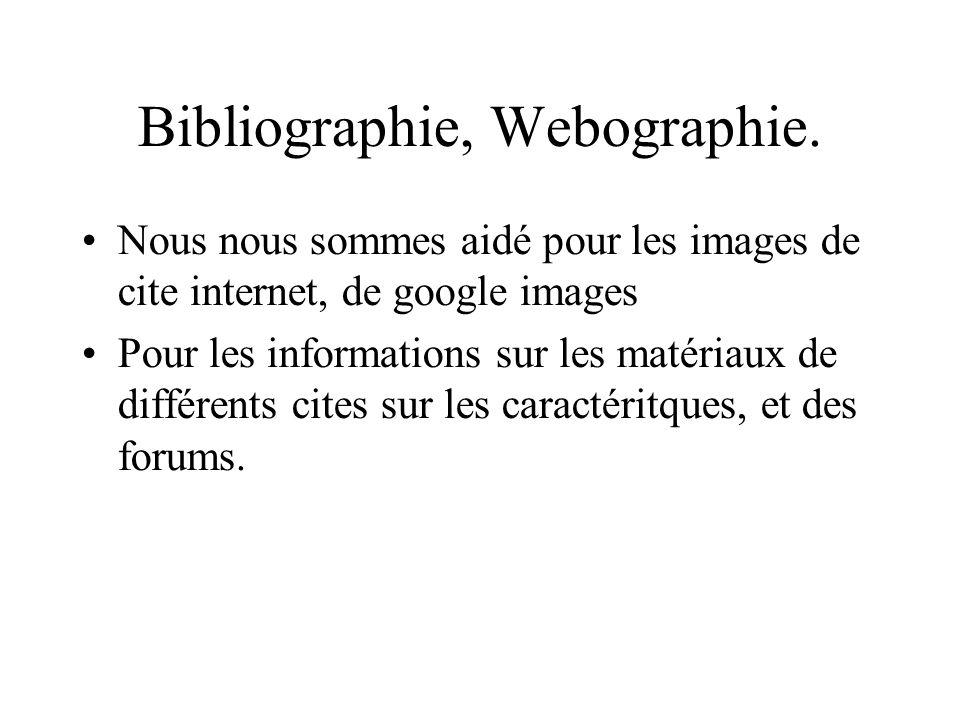 Bibliographie, Webographie. Nous nous sommes aidé pour les images de cite internet, de google images Pour les informations sur les matériaux de différ