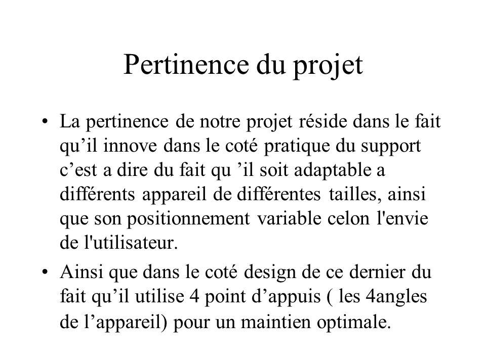 Pertinence du projet La pertinence de notre projet réside dans le fait qu'il innove dans le coté pratique du support c'est a dire du fait qu 'il soit