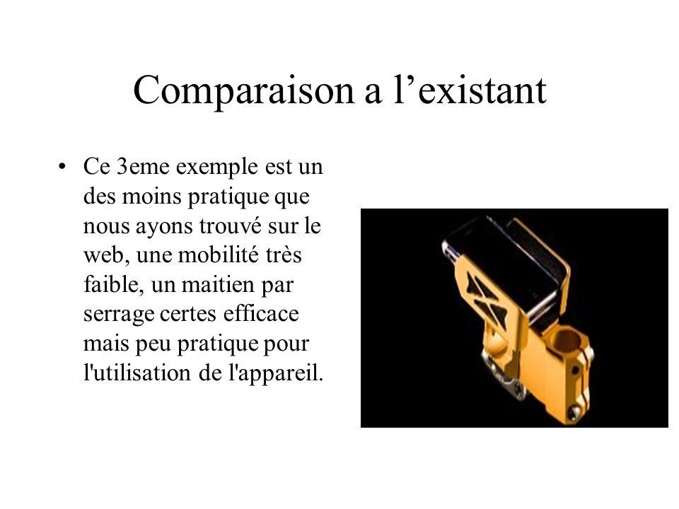 Comparaison a l'existant Ce 3eme exemple est un des moins pratique que nous ayons trouvé sur le web, une mobilité très faible, un maitien par serrage