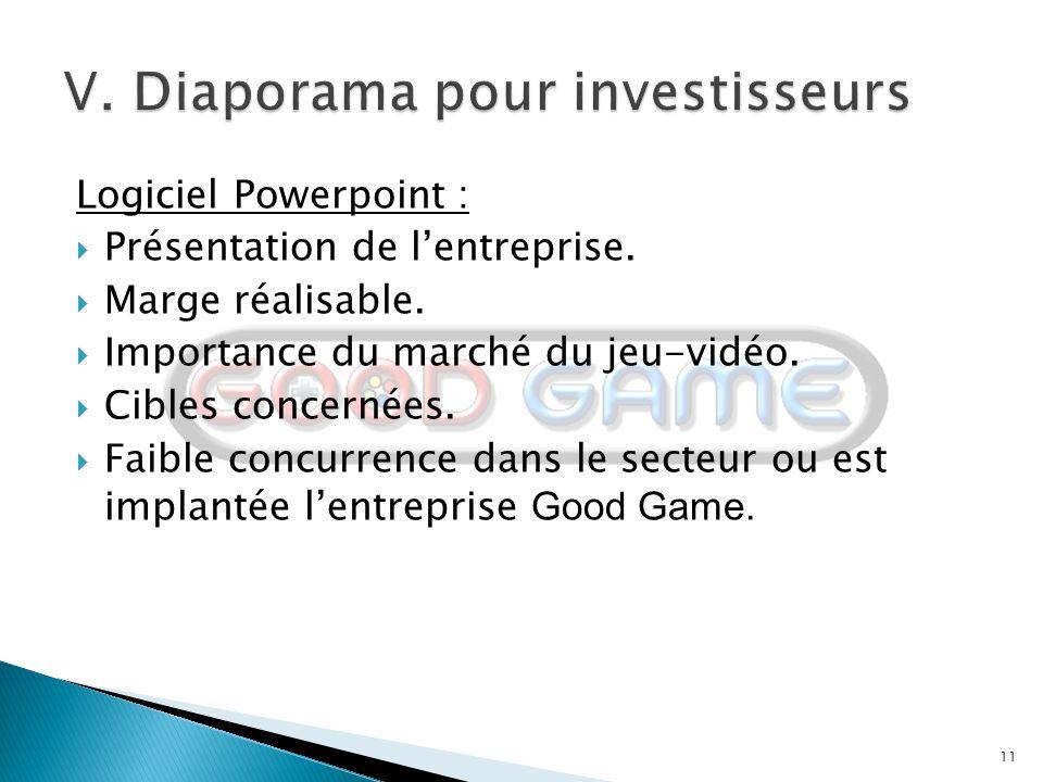 11 Logiciel Powerpoint :  Présentation de l'entreprise.  Marge réalisable.  Importance du marché du jeu-vidéo.  Cibles concernées.  Faible concur