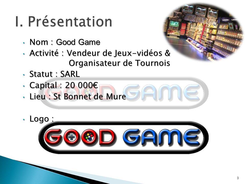 Nom : Good Game Nom : Good Game Activité : Vendeur de Jeux-vidéos & Organisateur de Tournois Activité : Vendeur de Jeux-vidéos & Organisateur de Tourn