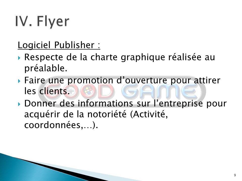 9 Logiciel Publisher :  Respecte de la charte graphique réalisée au préalable.  Faire une promotion d'ouverture pour attirer les clients.  Donner d