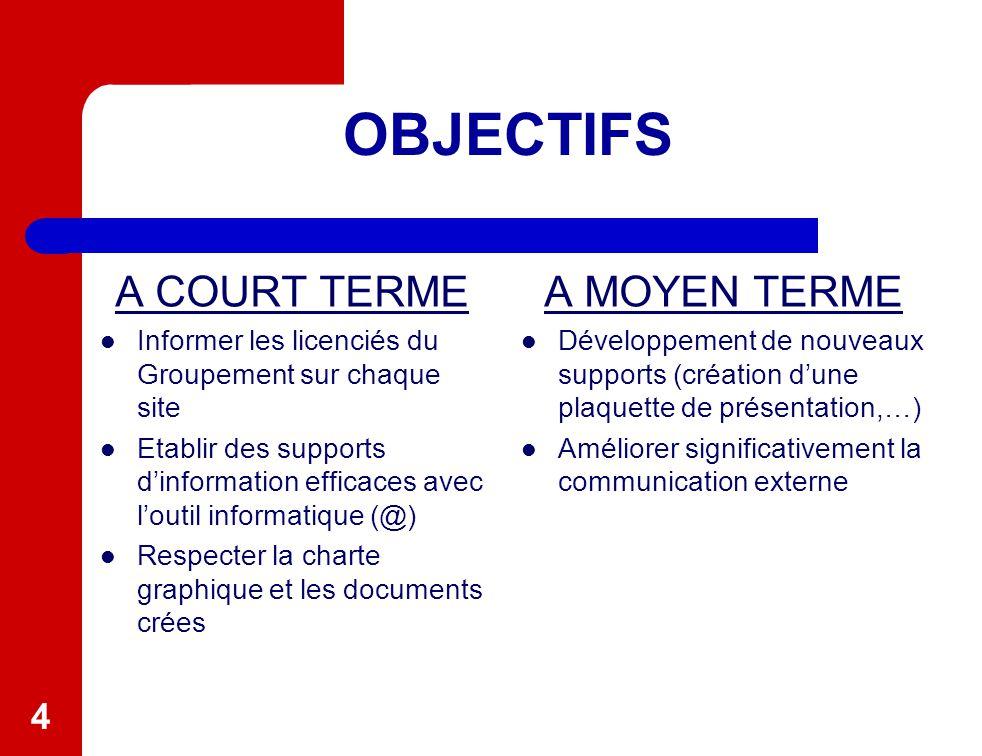 4 OBJECTIFS A COURT TERME Informer les licenciés du Groupement sur chaque site Etablir des supports d'information efficaces avec l'outil informatique