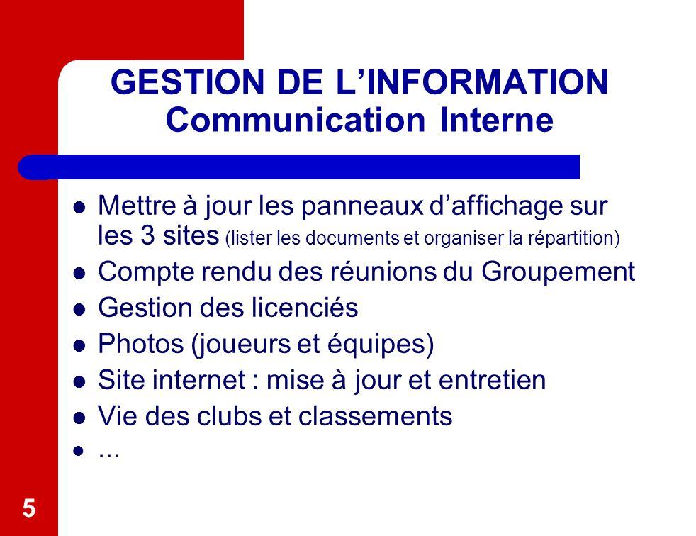 5 GESTION DE L'INFORMATION Communication Interne Mettre à jour les panneaux d'affichage sur les 3 sites (lister les documents et organiser la répartit