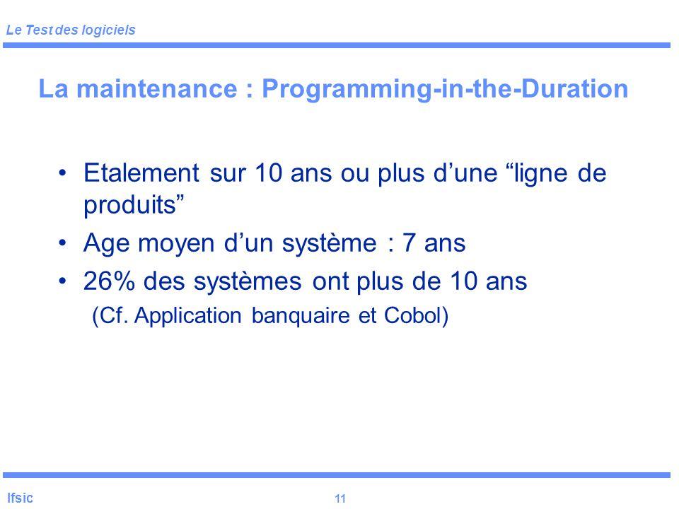 Le Test des logiciels Ifsic 10 Pourquoi? (cf. IEEE Computer 01/97) Réutilisation dans Ariane 5 d'un composant de Ariane 4 ayant une contrainte « caché