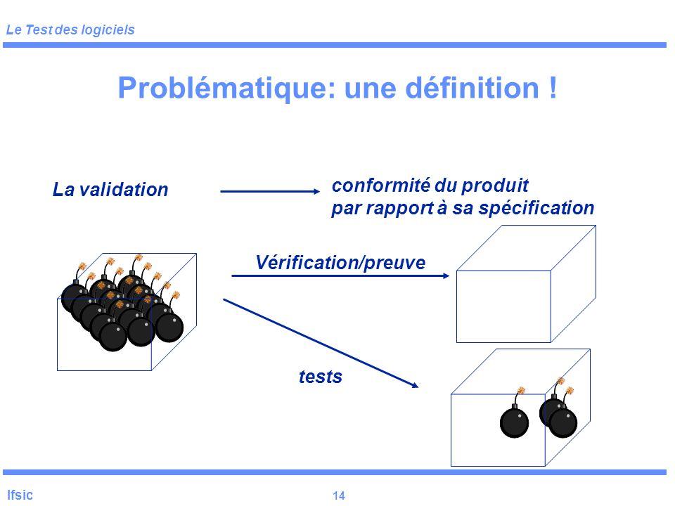 Le Test des logiciels Ifsic 13 Problématique analyse des besoins spécification Implémentation test Le coût du test dans le développement + maintenance