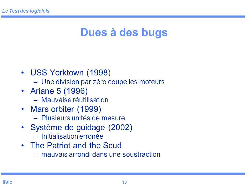 Le Test des logiciels Ifsic 17 Défaillances Catastrophe humaine ou financière: –Automobile (2004) – régulateur de vitesse –Therac-25 (1985-1987) – rad