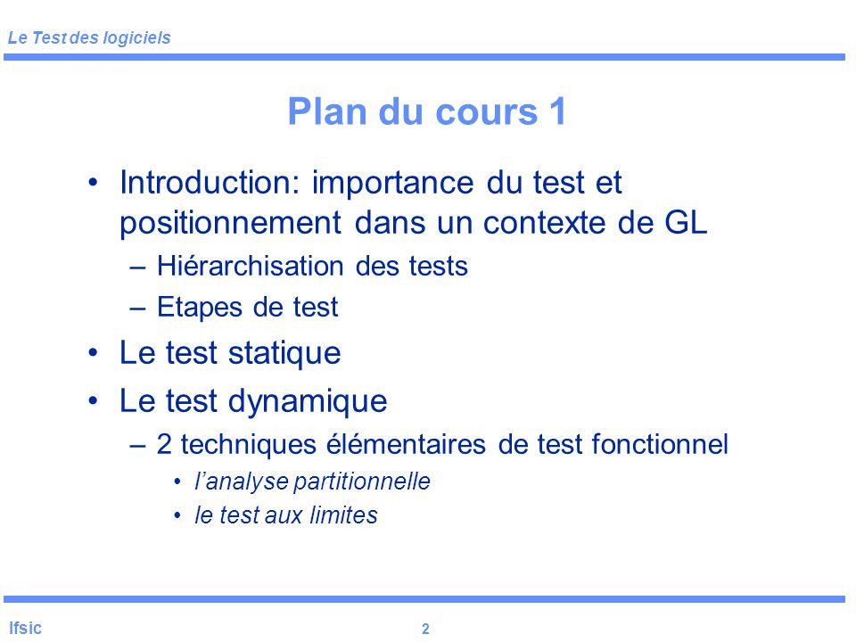 Le Test des logiciels Ifsic 1 Le test de logiciels Yves Le Traon