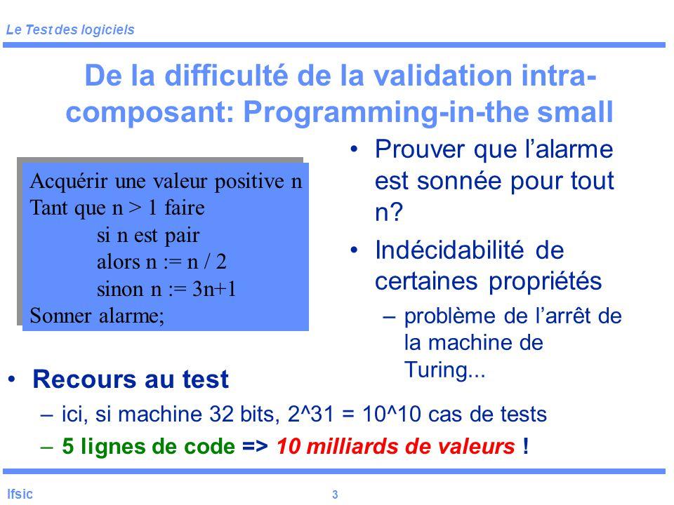 Le Test des logiciels Ifsic 2 Plan du cours 1 Introduction: importance du test et positionnement dans un contexte de GL –Hiérarchisation des tests –Et