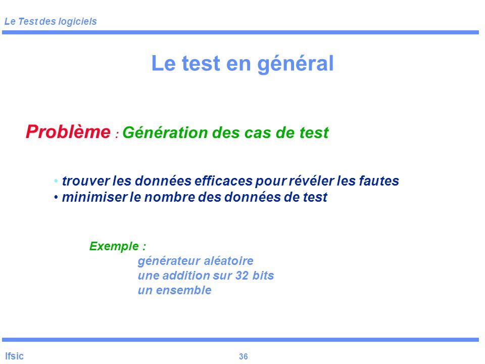 Le Test des logiciels Ifsic 35 Etapes et hiérarchisation des tests Tests unitaires Tests d 'intégration Tests système Test structurel Test fonctionnel