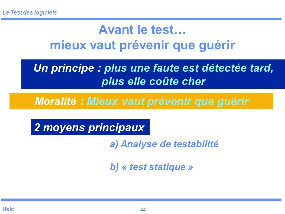 Le Test des logiciels Ifsic 43 Le test en général Problèmes : oracle (ou verdict) Oracle : expression booléenne caractérisant la détection d 'une erre