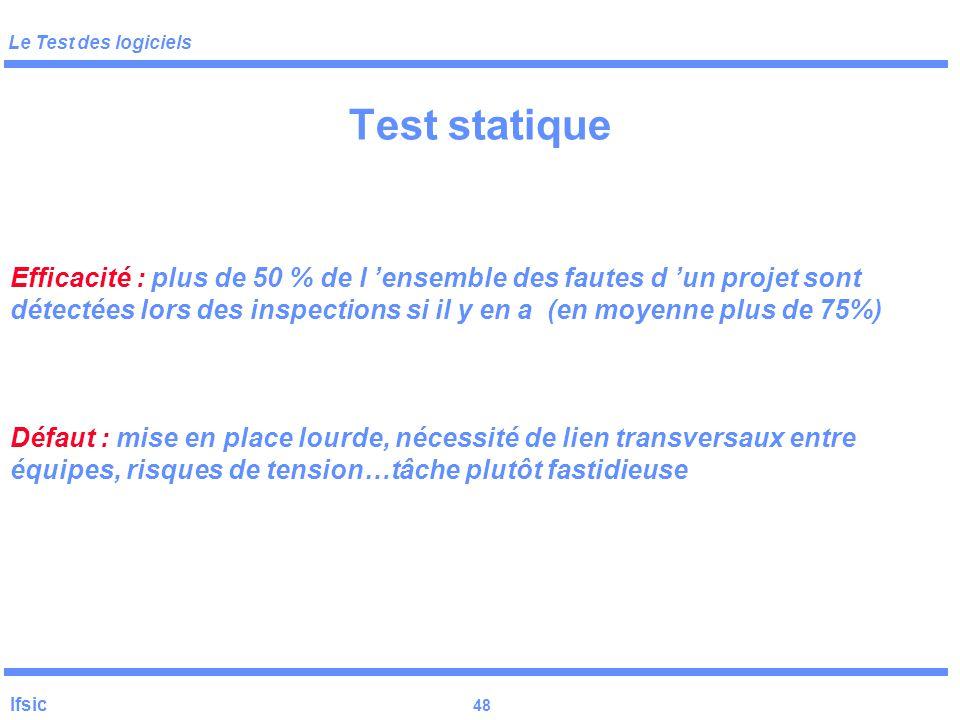 Le Test des logiciels Ifsic 47 Test statique Préparation: Distribution des documents quelques jours avant la séance (code, spec, éventuellement cas de
